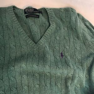 Polo Ralph Lauren Silk Knit V-Neck Sweater Large